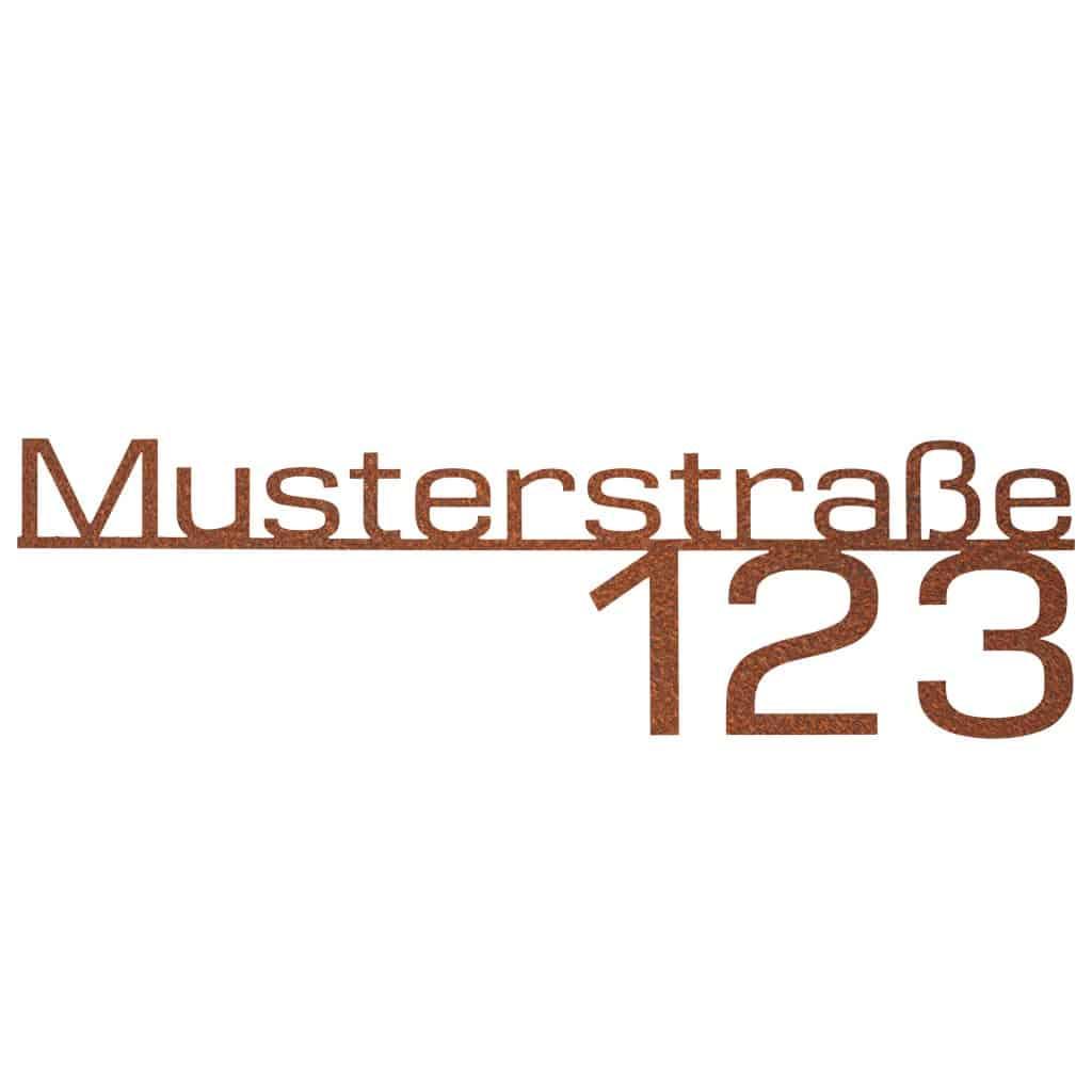 Hausnummer-Straße-Corten Stahldesign Klostermann